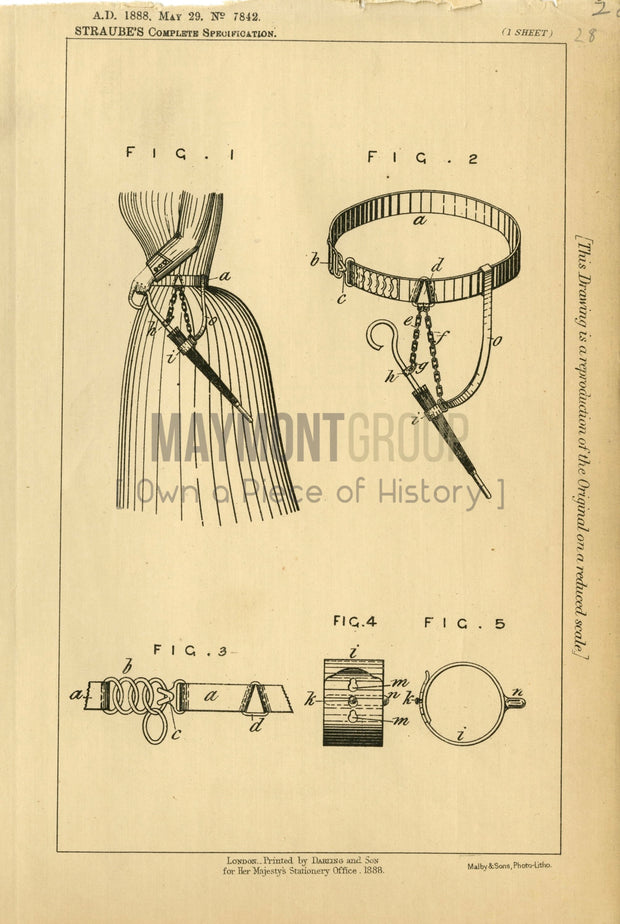 Umbrella Belt Attachment Straube Original Patent Lithograph 1888
