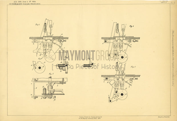 Sewing-machine Feed Gundelach Original Patent Lithograph 1888