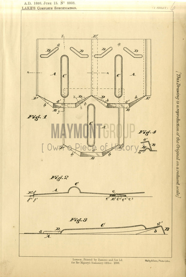 Roofing Thorn (Lake) Original Patent Lithograph 1888