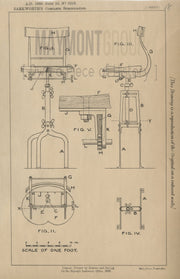 Organ Stool Barkworth Original Patent Lithograph 1888