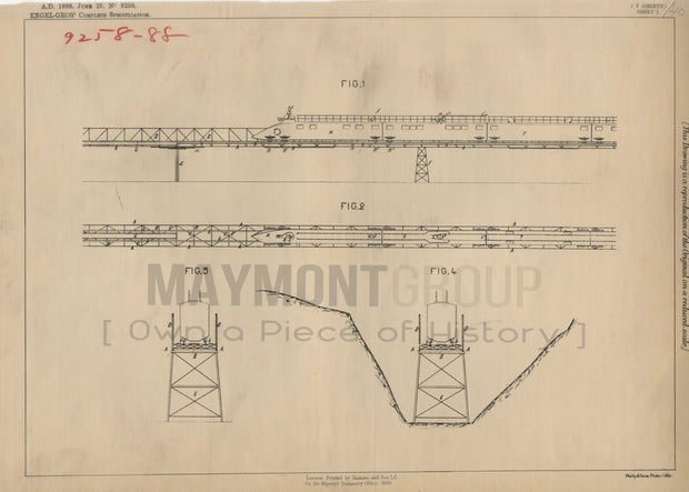 Elevated Railways Engel Gros Original Patent Lithograph 1888