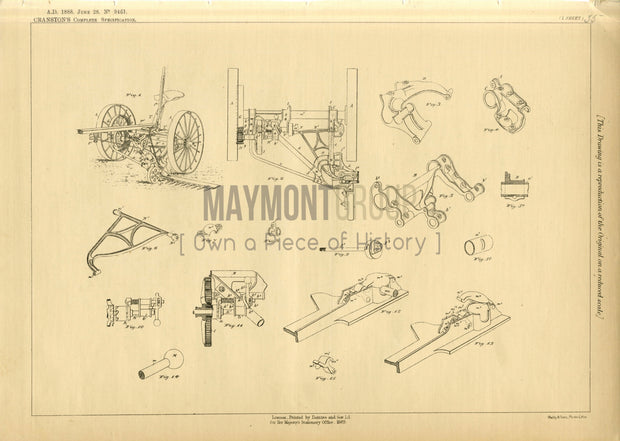 Mowing Machines Cranston Original Patent Lithograph 1888