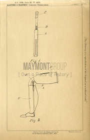 Artificial Legs Masters & Masters Original Patent Lithograph 1888