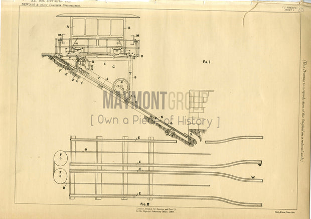 Inclined Railways and Tramways Newnes, Marks & Jones Original Patent Lithograph 1888