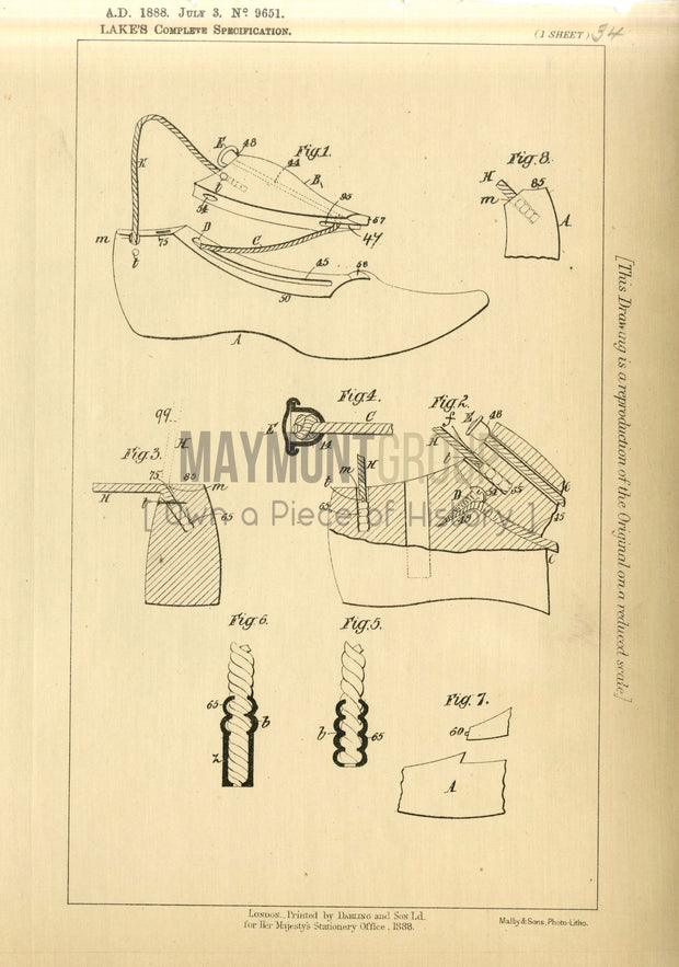 Footwear Lasts Shaw (Lake) Original Patent Lithograph 1888