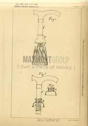 Umbrella Closing Mechanism Tata Original Patent Lithograph 1888