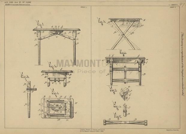 Folding Tables Bon Original Patent Lithograph 1888