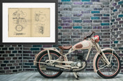 Motorcycle Carl Hult Original Patent Lithograph 1932