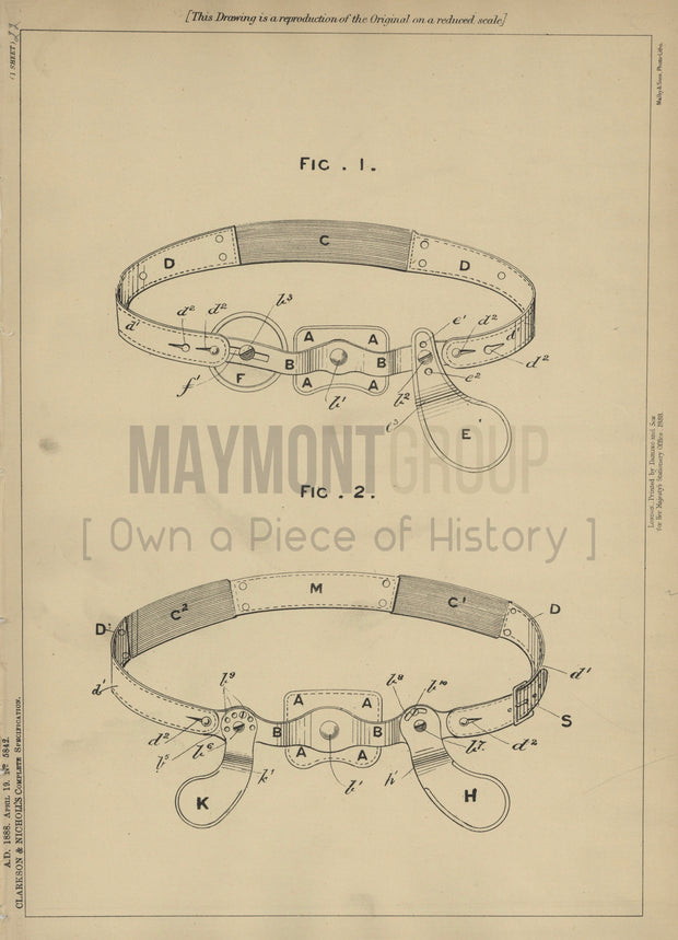 Truss Belt Clarkson and Nicholls Original Patent Lithograph 1888