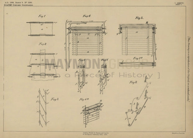 Window Blinds Coates Original Patent Lithograph 1888