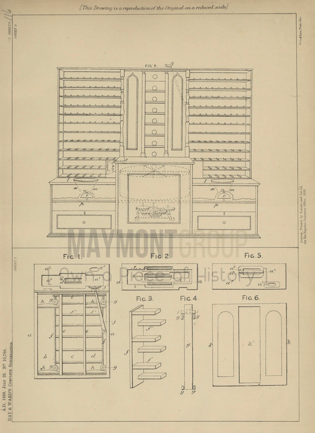 Tills Day and Ward Original Patent Lithograph 1888
