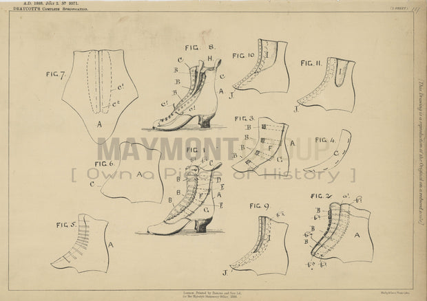 Upper Spring for Shoes Draycott Original Patent Lithograph 1888