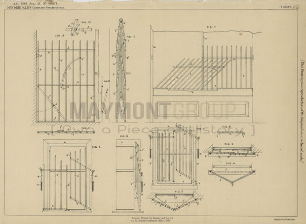 Gates Dunderdale Original Patent Lithograph 1888