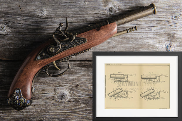 Small Breech Loading Firearm Edwin Smith Original Patent Lithograph 1932