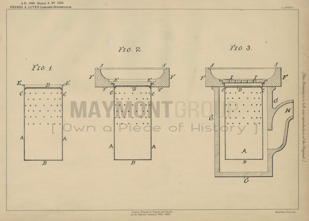 Gully Trap Ferens and Love Original Patent Lithograph 1888
