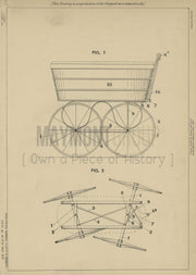Perambulator Garsed and Green Original Patent Lithograph 1888
