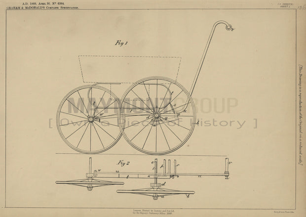 Perambulator Brake Graham and McDonald Original Patent Lithograph 1888