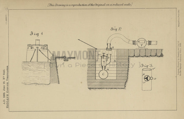 Harbour Supply Hydrant Haddan Original Patent Lithograph 1888