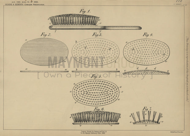 Brush Bristles or Wires Hinde & Hinde Original Patent Lithograph 1888