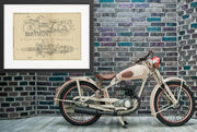 Motorcycle and Motor Vehicles John Shaw Original Patent Lithograph 1933