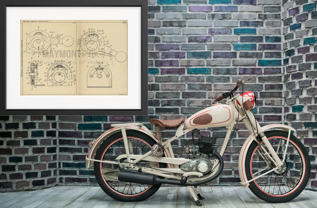 Motorcycle Gear Change Mechanism Kenneth Whistance Original Patent Lithograph 1932