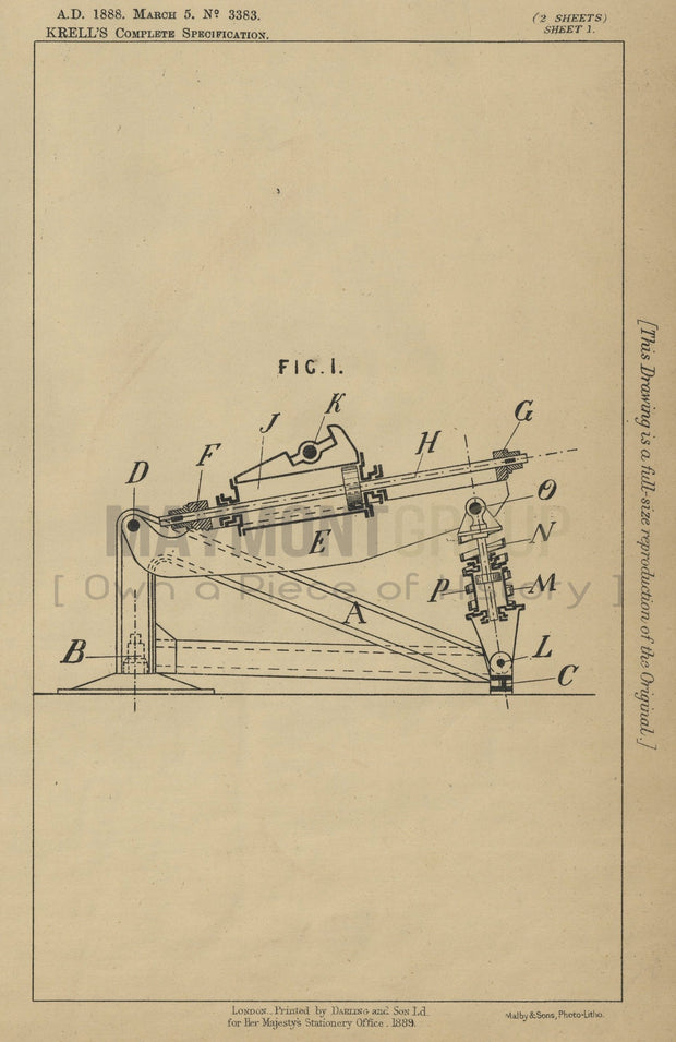 Recoil Apparatus for Mountings Krell Original Patent Lithograph 1888