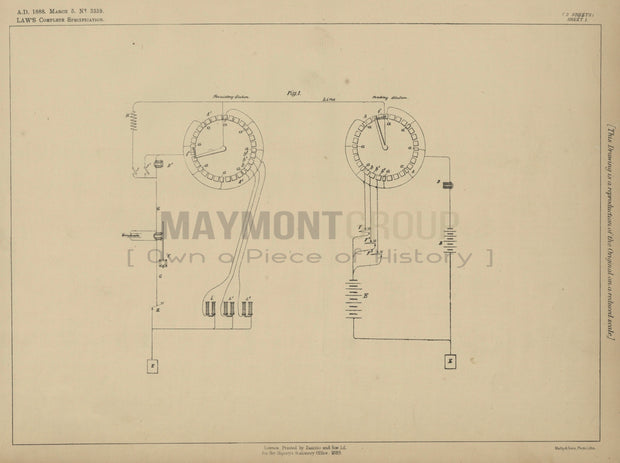 Typewriter Setting Law Original Patent Lithograph 1888