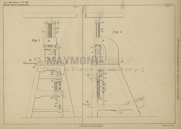 Footwear Manufacturing Lion Original Patent Lithograph 1888