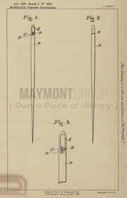 Sewing Needles Morrall Original Patent Lithograph 1888