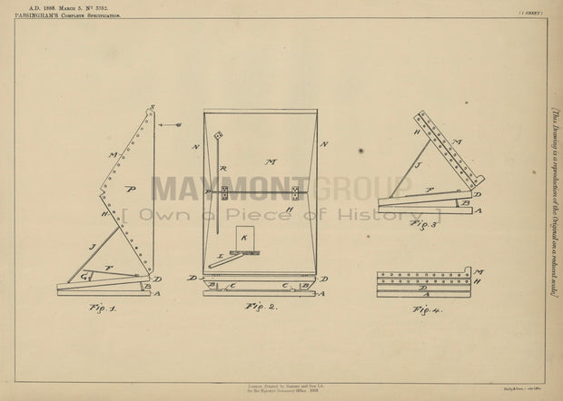 Retouching Desks Passingham Original Patent Lithograph 1888
