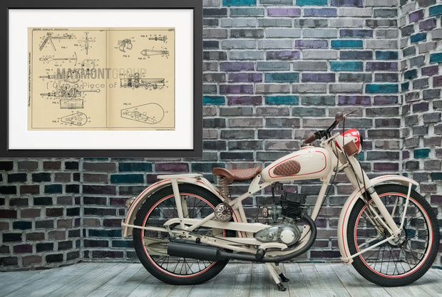 Motorcycle Direction Indicator Walter Hilgers Original Patent Lithograph 1932