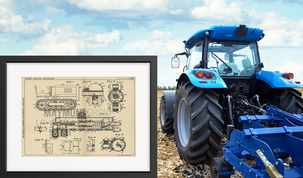 Tracklaying Tractor Frames the Cleveland Tractor Company (Triggs) Original Patent Lithograph 1932