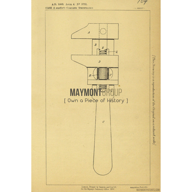Adjustable Wrench Patent | 1888 | Patent No. 5751-United States Patent Office-Maymont Patent Group