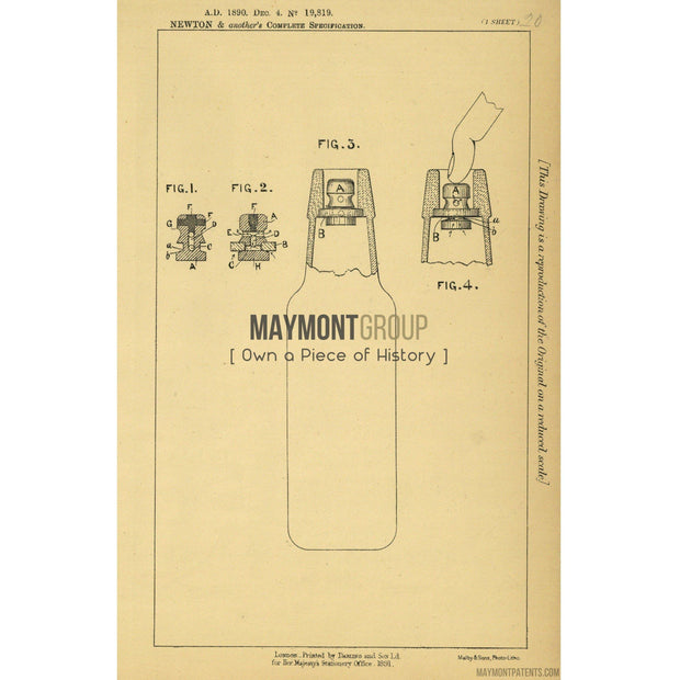 Bottle Stopper | 1890 | Patent No. 19819-United States Patent Office-Maymont Patent Group