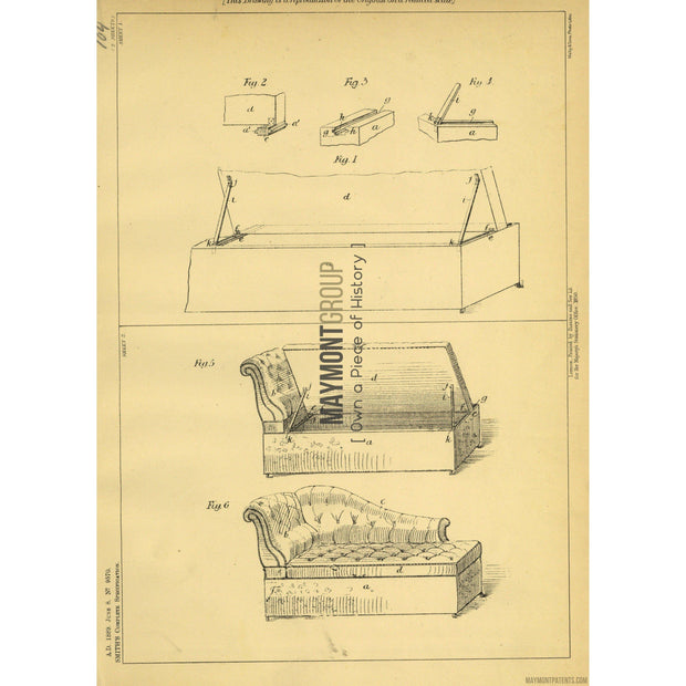 Chaise Lounge | 1889 | Patent No. 9570-United States Patent Office-Maymont Patent Group