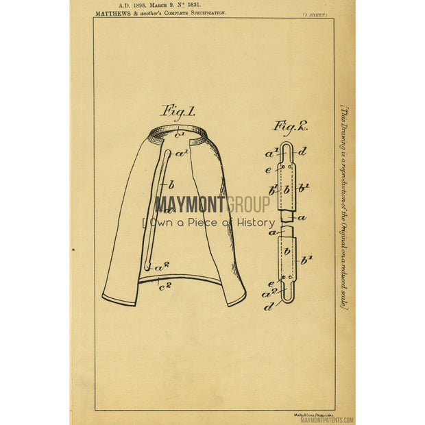Cycling Skirts | 1898 | Patent No. 5831-United States Patent Office-Maymont Patent Group