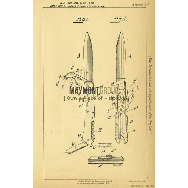 Folding Knife | 1890 | Patent No. 19838-United States Patent Office-Maymont Patent Group