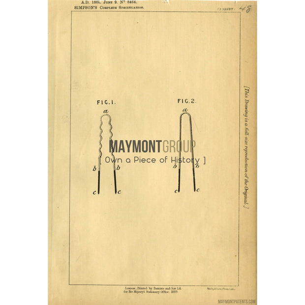 Hair Pin | 1888 | Patent No. 8464-United States Patent Office-Maymont Patent Group
