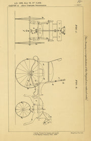 Children's Vehicle Propelling and Steering Garvey Original Patent Lithograph 1889