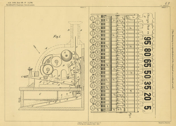 Cash Register Haddan Original Patent Lithograph 1889