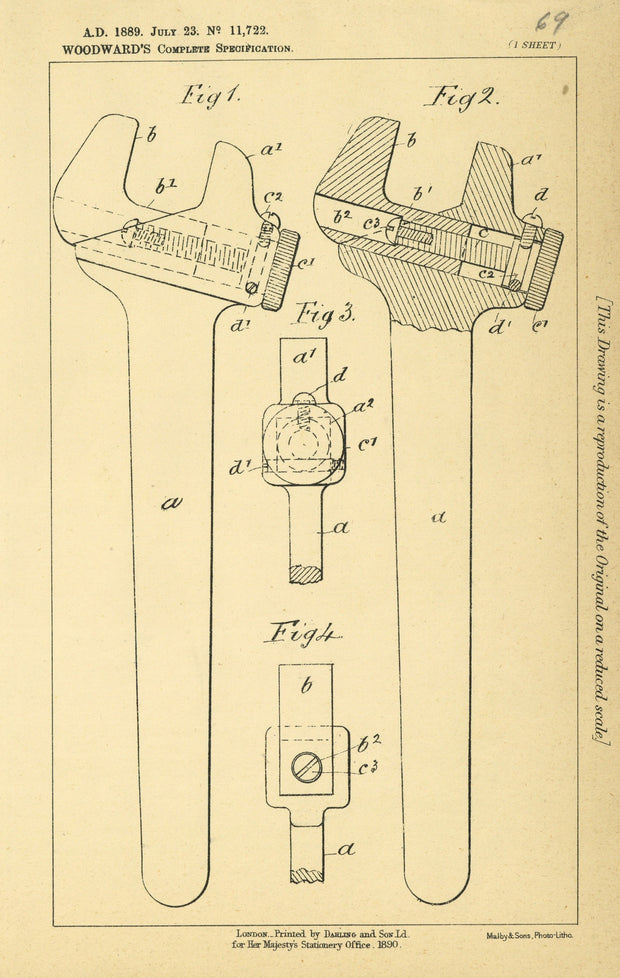 Wrenches Woodward Original Patent Lithograph 1889
