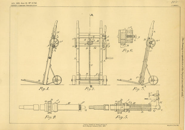 Hand Trucks Cook Original Patent Lithograph 1889