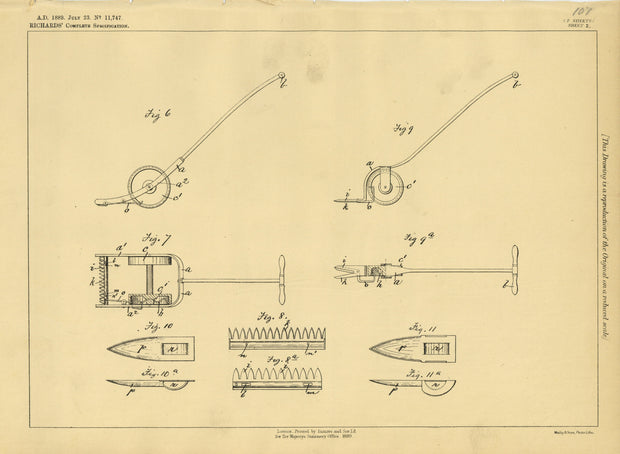 Shears Richards Original Patent Lithograph 1889