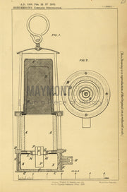 Safety Lamp for Mining Henderson Original Patent Lithograph 1888