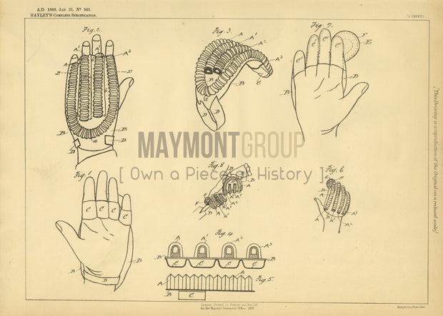 Cricketer Gloves Hayley Original Patent Lithograph 1888