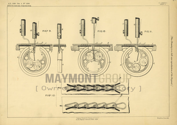 Stitching & Sewing Machines Chain Hill Original Patent Lithograph 1888