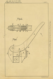 Wrenches Pusey Original Patent Lithograph 1898
