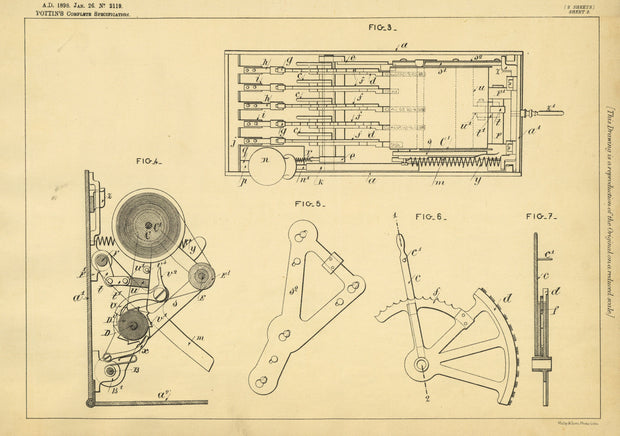 Cash Registering Apparatus Pottin Original Patent Lithograph 1898