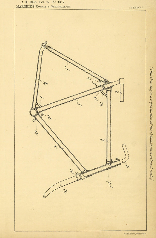 Bicycle Frames Margrie Original Patent Lithograph 1898