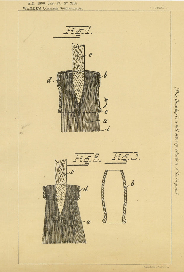 Paint Brush Cover Wanke Original Patent Lithograph 1898
